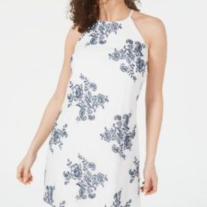BCX NWT White  Blue Floral Sleeveless Dress